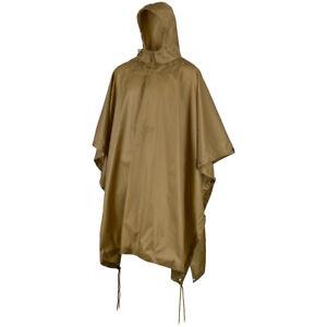 MFH US Poncho Ripstop Hiking Fishing Hunting Rain Cover Waterproof Coyote Tan