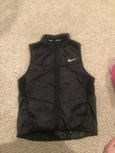 New Nike Dri Fit Running Vest Mens Size Large Black Silver Jacket Polyester Gym