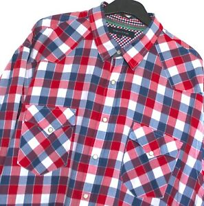 Tommy Hiifiger Western Shirt Mens Pearl Snap Popper Red White Blue Check XXL