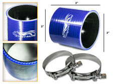 """BLUE Silicone Coupler Hose 3.0"""" 76 mm + T-Bolt Clamps Air Intake Intercooler CH"""