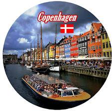 COPENHAGEN, DENMARK - ROUND SOUVENIR FRIDGE MAGNET - FLAG / BRAND NEW / GIFTS