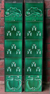 ART NOUVEAU FIREPLACE TILE SET 2 X 5 TILE PANELS AN 133 GREEN GAS / DECORATIVE
