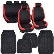 Car Seat Cover Red Trim Accent Sport Racing & Black All Weather Floor Mats 13pc