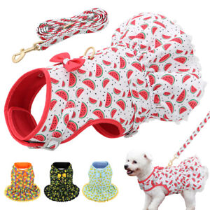Cute Puppy Cat Pet Harness and Leash Summer Skirt Soft Mesh Padded Floral Dress