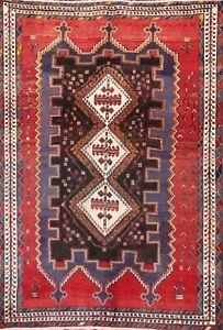 5'x7' Vintage Geometric Tribal Sirjan Hand-knotted Area Rug Wool Oriental Carpet