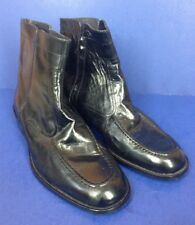 David Taylor~mens 10 M~Black Leather Ankle Boot Side Zip Beatle Boot #62600