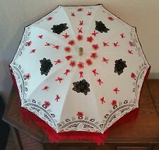 Vintage Parasol Umbrella Wood Handle Lace Ann's White Black Flowers Red Fringed