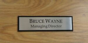 250mm x 50mm Executive Personalised Office Wall Name Plate, Custom Engraved Sign