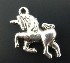 10 x Tibetan Silver 3d Unicorn Pendant Charms