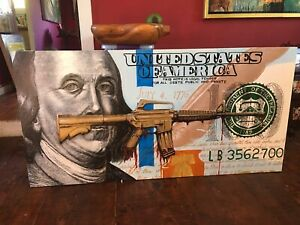 "One Hundred Dollar Bill 48.5""x24"" Acrylic on Wood"