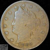 1889 Liberty Nickel, V Nickel, Very Good+ Condition, Free Shipping in USA, C5014