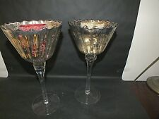 Pair of 1950's Italian Art Glass Goblet Candle Holders