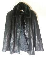 Jones New York Leather Jacket: Black - Women's Size Medium With Faux Fur Collar