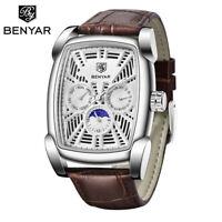 BENYAR Watch Men's Analog Quartz Watches Rectangle Case Waterproof Leather Band