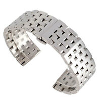 20/22mm Solid Men Stainless Steel Silver Replacement Watch Band Strap Bracelet