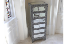 BLACK SILVER EMBOSSED MIRRORED GLASS SLIM TALL BOY CHEST DRAWERS (DX3247)