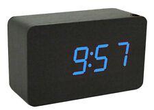 Clap on - Voice Control  WOOD CUBE-2 Wecker Schwarz mit grüner LED - Holz Würfel