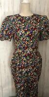 Albert Nipon Boutique Vintage c.1985 100% Silk Floral Dress Size 4 Theater