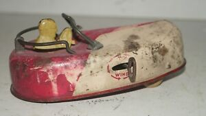 Vintage Rare Wind Up Tin Bumper Car with Wood Wheels Patent No. 2072308