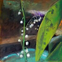 """SNOWFLAKE FLOWER Fine Still Life Oil painting 8x8"""" 20x20cm Realism FREE Shipping"""