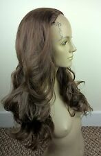 medium brown wavy curly 3/4 half head long hair wig on half cap fancy dress