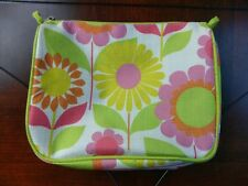 Clinique Make Up Bag Yellow Orange Green Pink Flower Floral Travel Cosmetic Case
