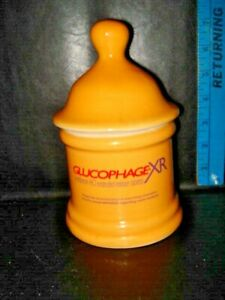 Pharmaceutical Collectible Canister Glucophage-XR Ceramic Container With Lid