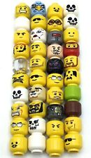 LEGO LOT OF 40 MINIFIGURE HEAD PIECES VARIETY CASTLE TOWN SPACE MIX BODY PARTS