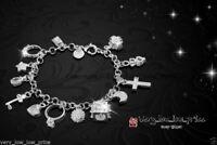 925 Silver Plated Crystal Charm Bracelet Rhinestone Charms Bangle Women XMAS