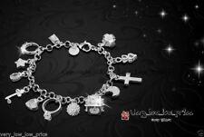 Cristal Enchapados en Plata 925 pulsera con dijes del Rhinestone encantos Brazalete Dama Mujer Reino Unido