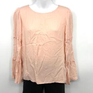 DREW Torri Top M Womens Boat Neck Ruffle Tiered Flared Sleeve Silk Blush Pink
