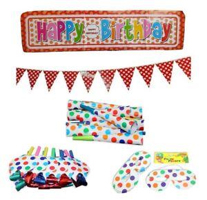 38pce Polka Dot Multi Colour Party Set Birthday Kids Rainbow Event Bundle Pack