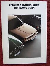 BMW 5 Series 1990 1991 UK Market Colours & Upholstery brochure