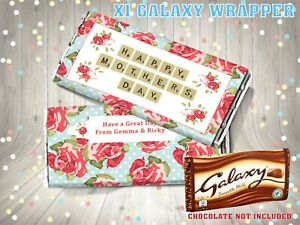 PERSONALISED Mothers Day CHOCOLATE BAR WRAPPER fit Galaxy 110g Mother's Day Gift