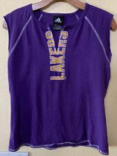 Adidas Los Angeles Lakers Womens Graphic Purple Split Neck T Shirt Size L