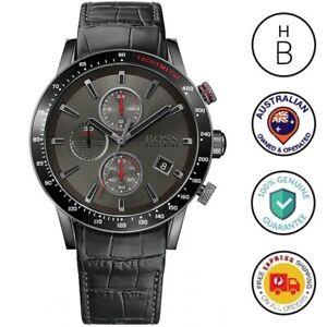 Hugo Boss Mens Rafale Watch All Black IP Steel & Leather Red Trim Chrono 1513445