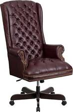 HIGH BACK TRADITIONAL TUFTED BURGUNDY LEATHER EXECUTIVE OFFICE CHAIR