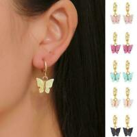 Elegant Women Lady Frosted Butterfly Ear Hoop Drop Jewelry Earrings Dangle