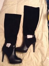 black leather upper side zip knee high suede boots size 8