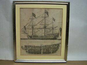 Antique DICTIONARY OF ARTS & SCIENCES Framed ' First Rate Ship of War Patent '