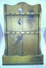 Wooden Souvenir Spoon Rack Holder Holds 12 Wall Display Shelf With Tray Vintage