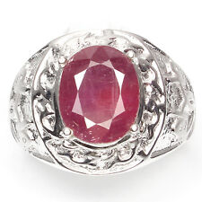 GENUINE OVAL CUT 11x9mm RED PINK RUBY SOLITAIRE STERLING 925 SILVER MEN'S RING