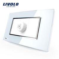 Livolo US/AU Standard Luxury White Pearl Crystal Glas Speed Fan Socket