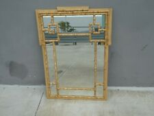 Stylish 70'S Painted Faux Bamboo Wood Mirror