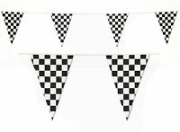 Checkered Bunting Black White Check Racing 20 Flags 32 FT Banner Win Newcastle