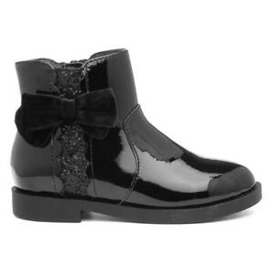Walkright Girls Black Patent Ankle Boots with Glitter Side Panel and Bow