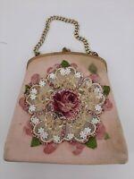 Vintage JOLLES ORIGINAL Purse Pink Single Handle Beaded Floral Tapestry Handbag