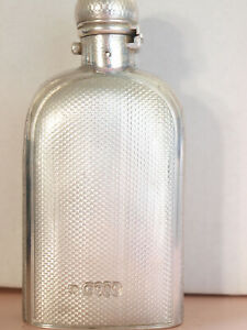 English Sterling Silver Antique VICTORIAN Hip Flask. LONDON 1865