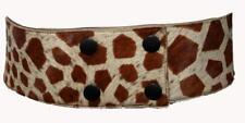Giraffe Patterned Real Fur Women's Wide Belt