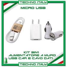 KIT 3 in 1 CARICABATTERIE AUTO E MURO + CAVO MICRO USB X SAMSUNG NEXUS HTC